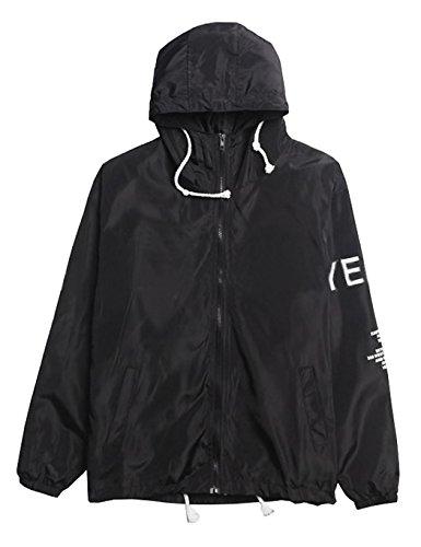 Baguet Men Waterproof Letter Print Jacket Hip-Pop Long Sleeve Anti-Sun Hoodie Streetwear,Large,Black