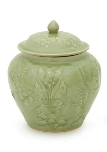 NOVICA Decorative Floral Ceramic Jar, Green, Lotus Pond'