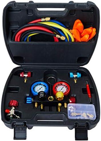 [해외]Lichamp 4 Valve AC Manifold Guage Set Fits R134A R410A R404A R22 Refrigerants Works on Freon Charging and Vacuum Pump Evacuation AC Complete Tool Kit / Lichamp 4 Valve AC Manifold Guage Set Fits R134A R410A R404A R22 Refrigerants W...