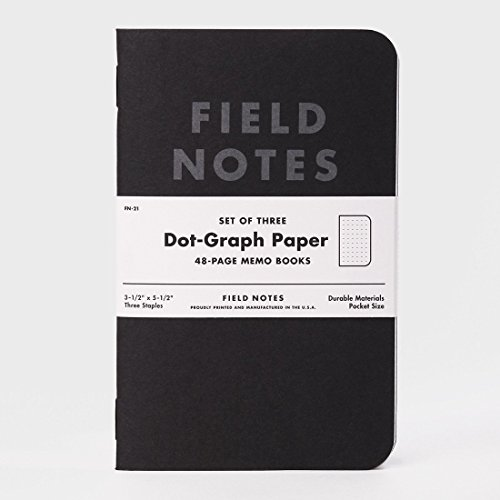 Field Notes Pitch Black Dot Grid Memo Books, 3-Pack (3.5x5.5-Inch) by Field Notes
