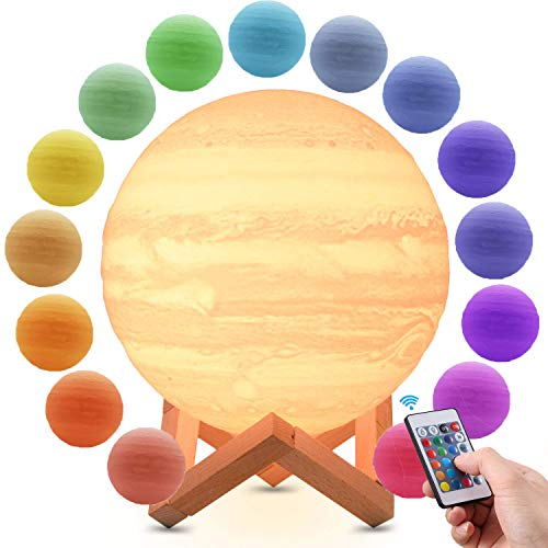 3D Painted Jupiter Lamp, RGB Colors LED Dimmer Night Light Touch Control,PLA Material, USB Recharge, 7.1
