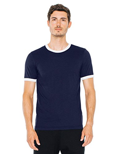 American Apparel Men's Poly-Cotton Short Sleeve Ringer T-Shirt, Navy/White, Medium