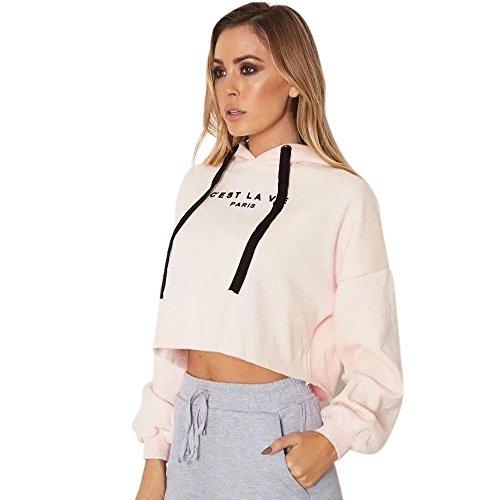 Women C Est La Vie Paris Print Hoodie Sweatshirt Crop Top Ladies Long Sleeve Shirt Jumper Pullover Tops Blouse For Women Teens On Sale Clearance  Pink  Small