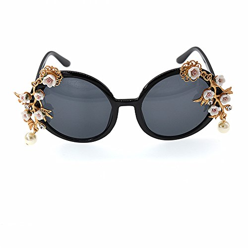 Wenjack de Ultra Sol Gafas and Pearl Show Beach Baroque a de Fashion Metal Gafas Style Sol Hecho para de Graceful de Ligero Mujeres Crystal Flower Mujer Las Mano Sol Gafas rrdCqwO