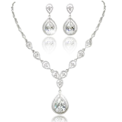 EVER FAITH Wedding Silver-Tone Teardrop Necklace Earrings Set Clear CZ Austrian - Drop Necklace Crystal Clear
