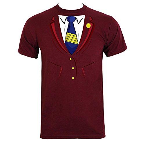 Ron Burgundy Costume Large (Men's Ron Costume T-shirt Burgundy)