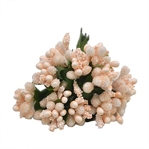 12Pcs/Lot Handcraft Artificial Flowers Stamen Sugar Wedding Party Decoration DIY Wreath Gift Box Scrapbooking Fake Flowers Peach