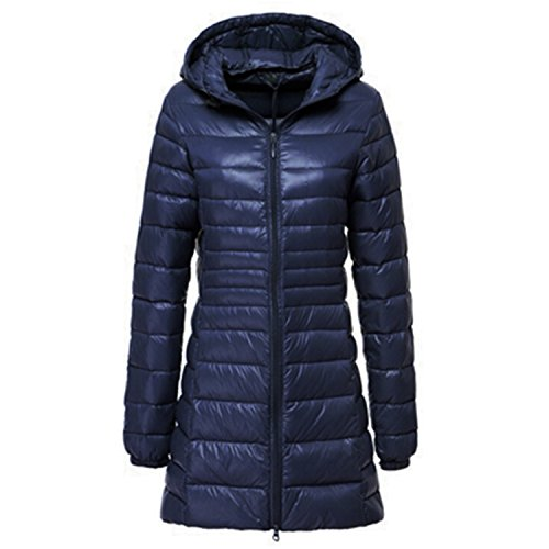 Feilongzaitianba Women Winter Jackets Duck Down Ultra Light Thin Slim Women Winter Jackets And Coats Hood Plus Size 6XL HJ324 Navy M by Feilongzaitianba