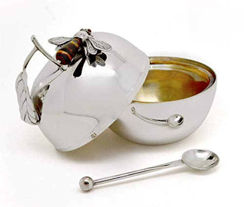 Apple Honey Dish Made of 925 Sterling silver with bee Rosh Hashanah gift