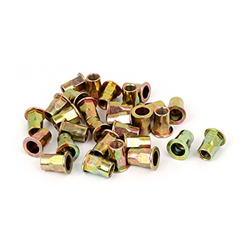 uxcell 8mmx18mm Flat Head Semi Hex Body Open End Blind Rivet Nuts Fasteners 30pcs by uxcell