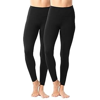 90 Degree By Reflex - High Waist Power Flex Legging - Tummy Control Black 2 Pack - Large