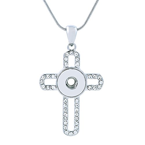 Lovmoment New Mini Necklace 12MM Cross Shape with White Rhinestones Snap Jewelry Necklace Charms