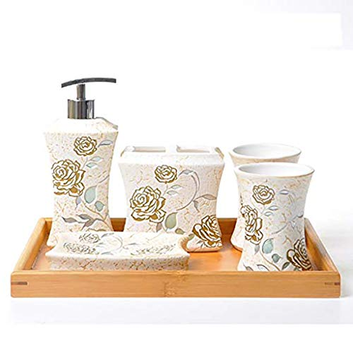 I will take action now European-Style Ceramic Bathroom 5pc Sets Bathroom Mouthwash Cup Traditional Crafts Fashion Display Hand-Painted Gilt Handmade Fine Texture Bathroom toiletries kit Wedding Gifts - Hand Painted Gilt