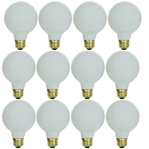 Sunlite 25G25/WH/12PK 25W Incandescent G25 White Light Bulb with Medium E26 Base (12 Pack)