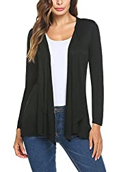 Mofavor Women S Draped Open Front Waterfall Cardigan Long Sleeve Hooded Cardigan With Pockets Black M