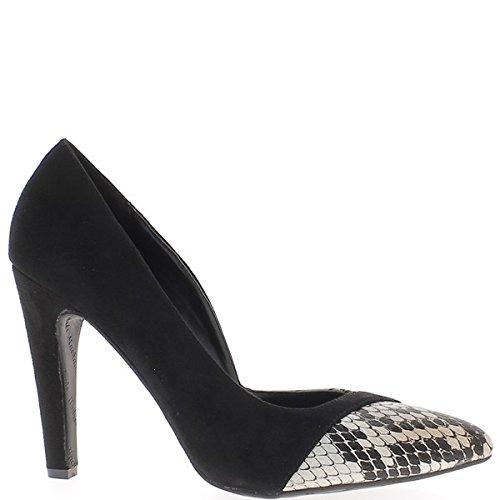 Zapatos de gran tamaño negro talones de escamas afiladas 11,5 cm