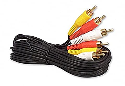 6FT RCA M/Mx3 Audio/Video Cable Gold Plated - Audio Video RCA Cable 6ft (Audio Video Dvd Cable)