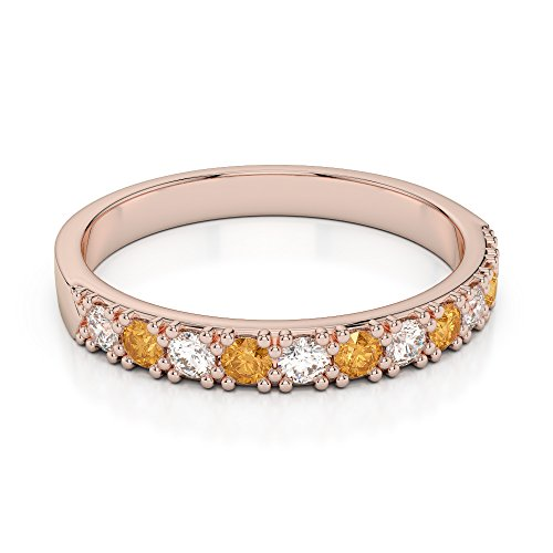Or Rose 18 carats 0,15 CT G-H/VS Certifié Coupe ronde Citrine et diamants Agdr-1130