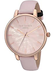 Ted Baker Womens KATE Quartz Stainless Steel and Leather Casual Watch, Color:Pink (Model: TE15200001)