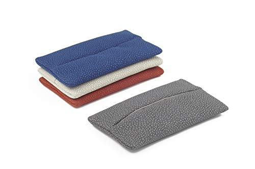 「Thing.Is」PU Leather Pocket Tissue Cover with Dot Pattern, Travel Tissue Holder, Travel Tissue Holder, Portable Tissue Case, Tissue Pouch, Grey/Blue/Red/Off White