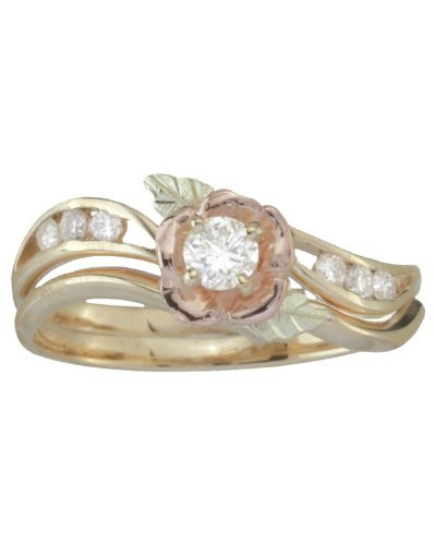 Diamond Flower and Channel Set Diamond 10k Yellow Gold Wedding Ring Set, 12k Rose Gold, 12k Green Gold (.17 Ct KM .12 Ctw HJ, Color, I1-2 Clarity), Size - Hills Ring Black Gold Mom