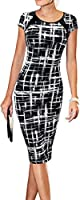LunaJany Women's Casual Striped Print Wear to Work Office Career Sheath Dress
