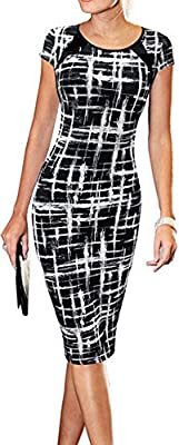 LUNAJANY Women's Summer Casual Black Striped Print Wear to Work Sheath Dress