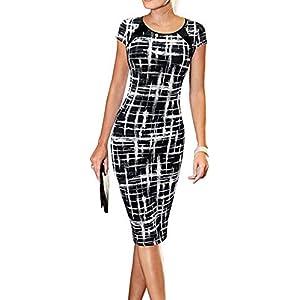 LunaJany Women's Casual Striped Print Wear to Work Office Career Sheath Dress