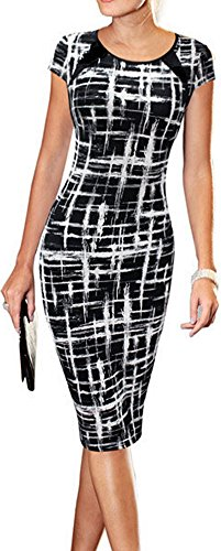 LUNAJANY Women's Summer Casual Black Striped Print Wear to Work Sheath Dress Small