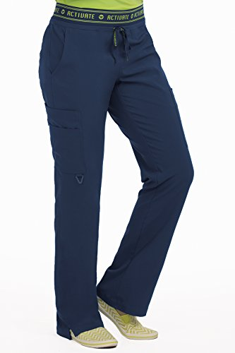 Cargo Pant Navy Scrub (Med Couture Women's 'Activate' Flow Yoga Cargo Scrub Pant, Navy, Medium Petite)