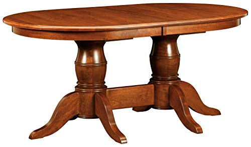 New Hickory Wholesale Amish Harrison Solid Wood Double Pedestal Dining Table, Stained (48