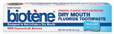 - Biotene Dry Mouth Fluoride Toothpaste Fresh Mint Original 4.3 Oz. (2 Pack)