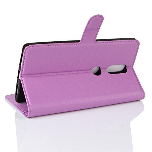 Funda Lenovo Phab2 Plus 6.4, Lifetrut [Titular de la tarjeta] [Kickstand] Funda protectora de la caja de la carpeta de cuero de la PU Folio para Lenovo Phab2 Plus 6.4 [Negro] E206-Púrpura