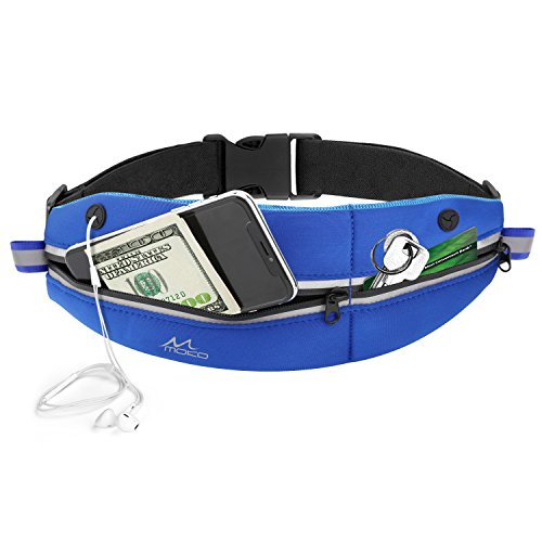 "MoKo Sports Waist Pack, Outdoor Fanny Running Belt Bag with Large & Small Pouch for iPhone X/8/7/8 Plus/6S Plus, Galaxy Note 8/S9/S9+/S8/S8 Plus/J3, Moto, Pixel and More Under 6.2"" - Indigo"