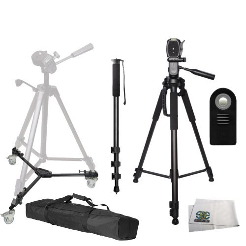 72-inch 3-Way Panhead Tilt Motion with Two Built in Bubble Leveling Tripod + Tripod Dolly + 72