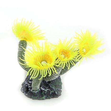 Planta Decoración Flor Silicona Cerámica para Acuario Pecera Color Amarillo: Amazon.es: Hogar
