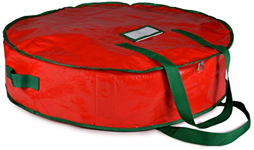 """Christmas Wreath Storage Bag - 30"""" X 7"""" - Durable Tarp Material, Zippered, Reinforced Handle and Easy to Slip The Wreath in and Out. Protect Your Holiday Wreath from Dust, Insects, and Moisture...."""
