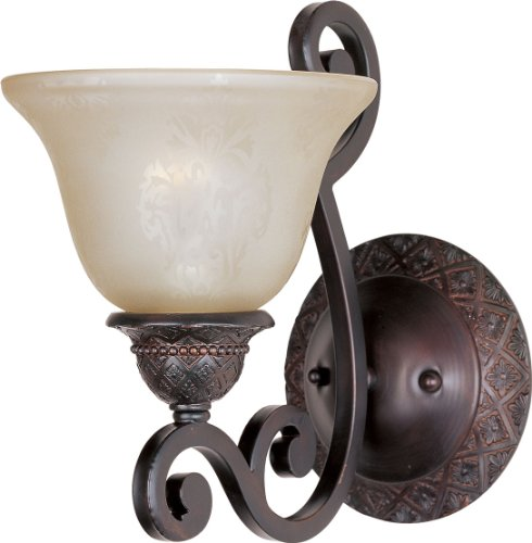 Maxim 11246SAOI Symphony 1-Light Wall Sconce Bath Vanity, Oil Rubbed Bronze Finish, Screen Amber Glass, MB Incandescent Incandescent Bulb , 100W Max., Damp Safety Rating, Standard Dimmable, Glass Shade Material, 4600 Rated Lumens