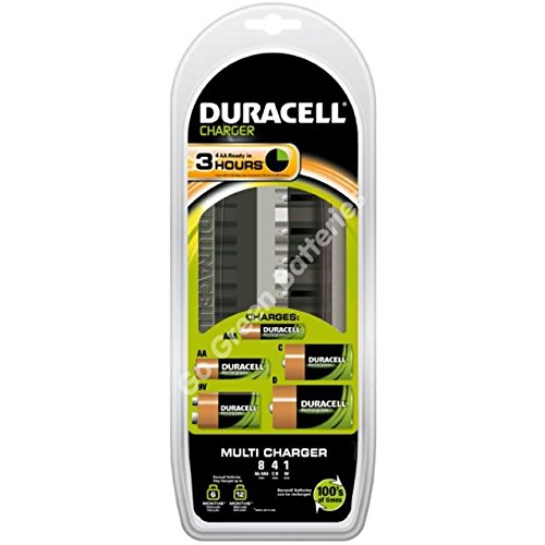 Duracell 3 Hour Multi Charger CEF22 for AA AAA C D 9V PP3 Rechargeable Batteries