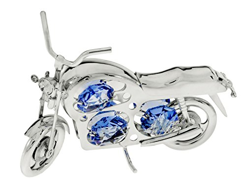 Classic Motorcycle Silver Plated Figurine with Blue Spectra Crystals by Swarovski