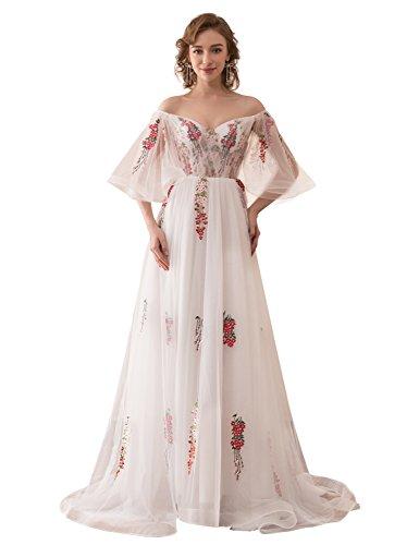 JoJoBridal Women's 2017 Long Floral Prom Dresses Evening Gowns White Custom from JoJoBridal