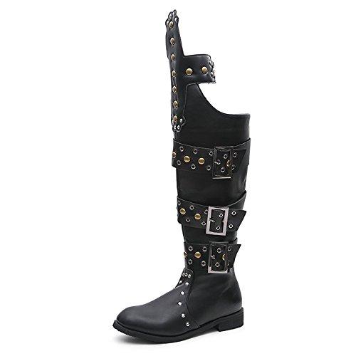 WSK Bottes hautes pour hommes Rivets Punk Rock sur des bottes de genou Bottes de cowboy Bottes de moto Bottes d'étape 44 cbio3aHJW