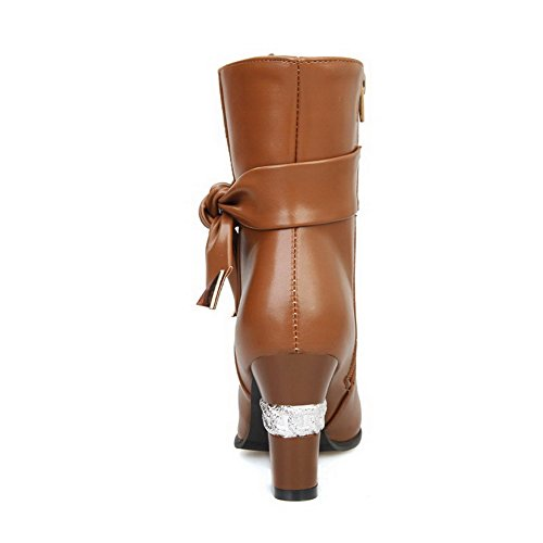 AmoonyFashion Womens Soft Material Round Closed Toe Solid Boots with Adornment Brown dsiFFm