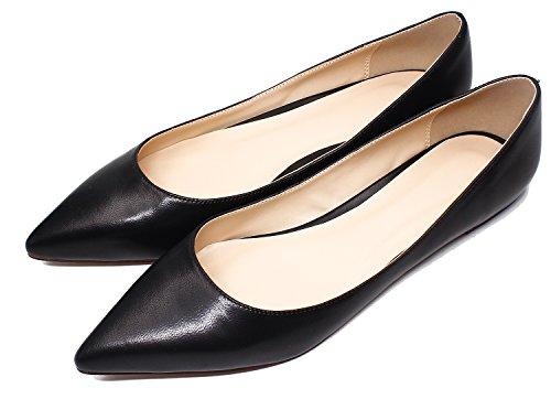 Guoar Womens Puntige Neus Big Size Ondiepe Stevige Flats Schoenen Zwart Zacht Leer