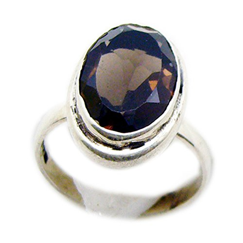 55Carat Natural Smoky Quartz Silver Mens Ring Sterling Silver Oval Face Handmade Size - Pear Men Face Shaped