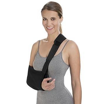 eDealMax Universal Correa Ajustable de Malla inmovilizador del hombro, brazo, codo Cinturón Negro Band
