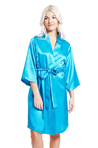 (Jovannie Women's Satin 3/4 Sleeve Kimono Robe with Matching Sash Regular/Long Length (M, Teal))