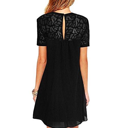 Robe pour Mousseline HUHU833 Mini de Courtes Courte Soie Noir Femme Soir Femmes Robe du en Manches Robe FBA7gBqw