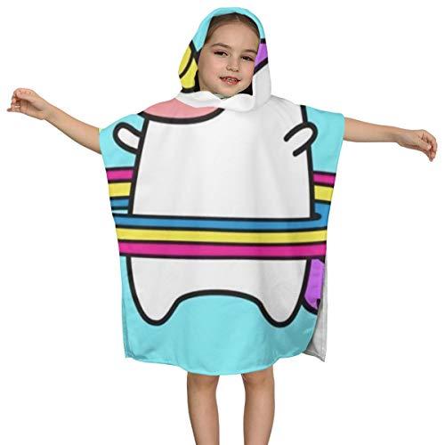 DE Xin Trade Unicorn Hula Hoop Hippopotamus Kids Hooded Beach Bath Towel Use for Baby Toddler Boys Bath Pool Swim Poncho Cover-ups for All Seasons Soft Beach 2-7 Years Old Bath Robe Girls