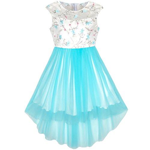 Sunny Fashion Flower Girls Dress Blue Hi-Low Skirt Wedding Party Size 6 -